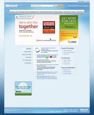 Microsoft web page