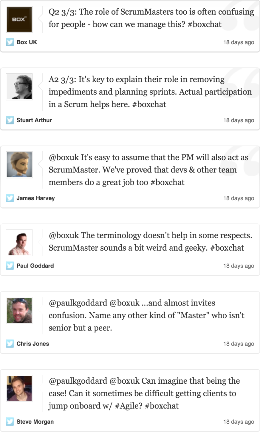 Twitter chat - Role of ScrumMaster