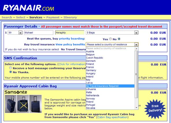 Ryan Air drop down