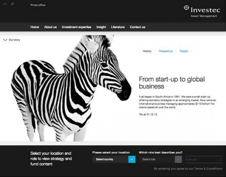 Investec web page
