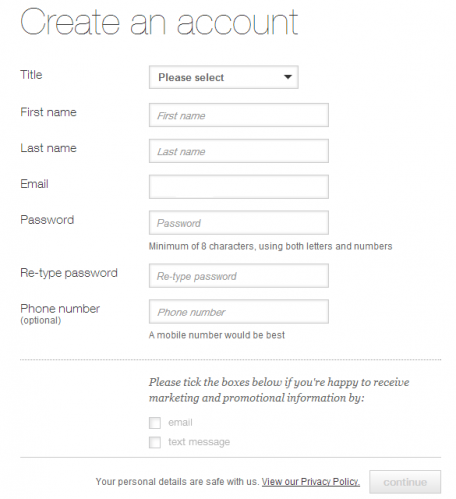 M&S checkout create account