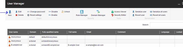 User manager screenshot