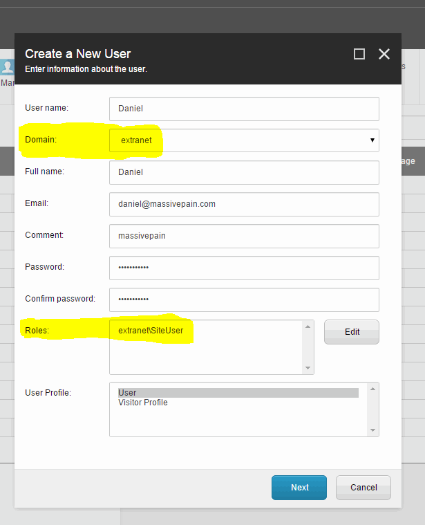 Create a new user screenshot
