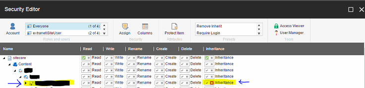 Removing permissions screenshot
