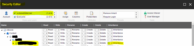 Assigning permission for site user screenshot