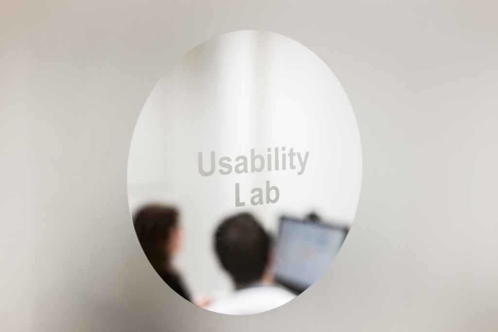 View of the usability lab through a window