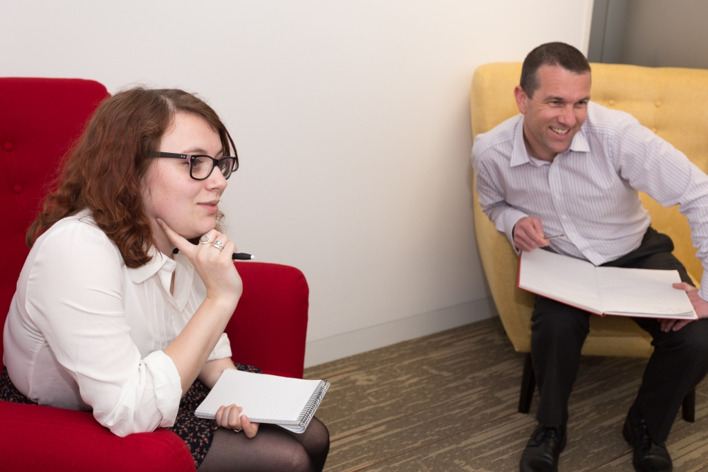 Two human participants in usability testing
