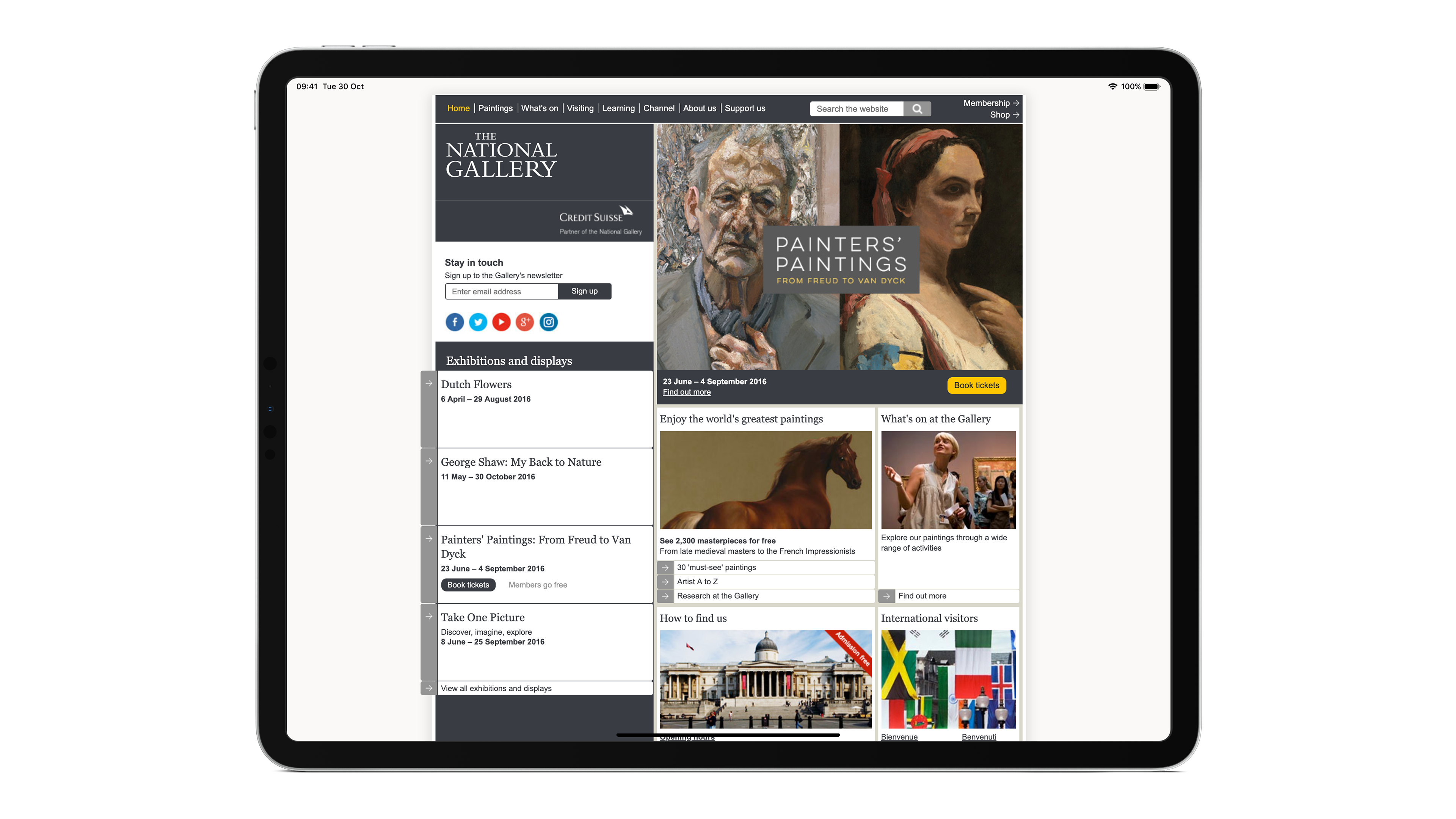 Screenshot of The National Gallery website