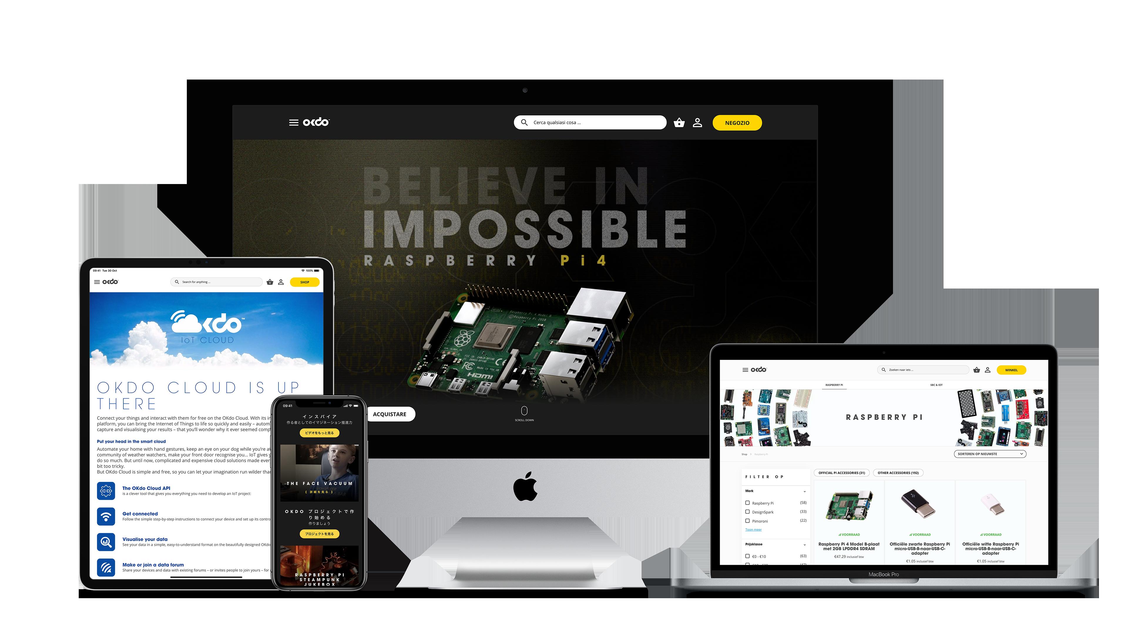 Mobile and desktop screenshots of okdo site