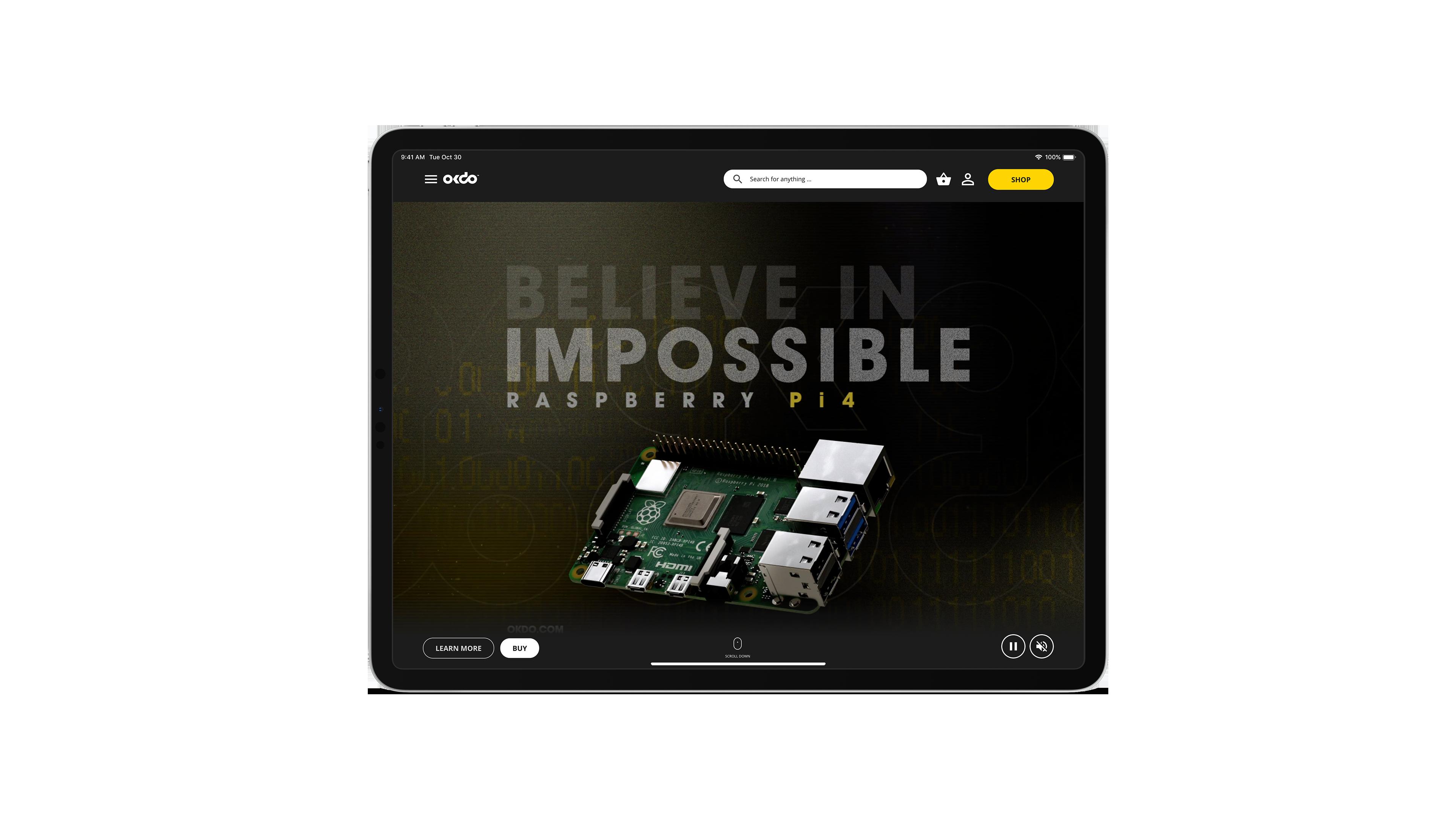 Tablet screenshot of okdo website