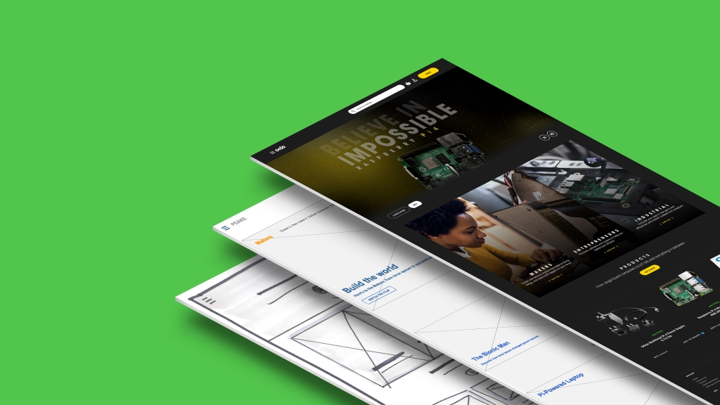 Examples of design iterations from sketches to high fidelity website