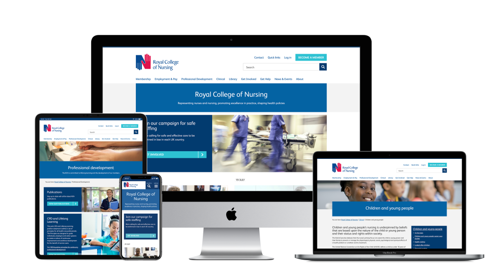 screen view on different devices for Royal College of Nursing