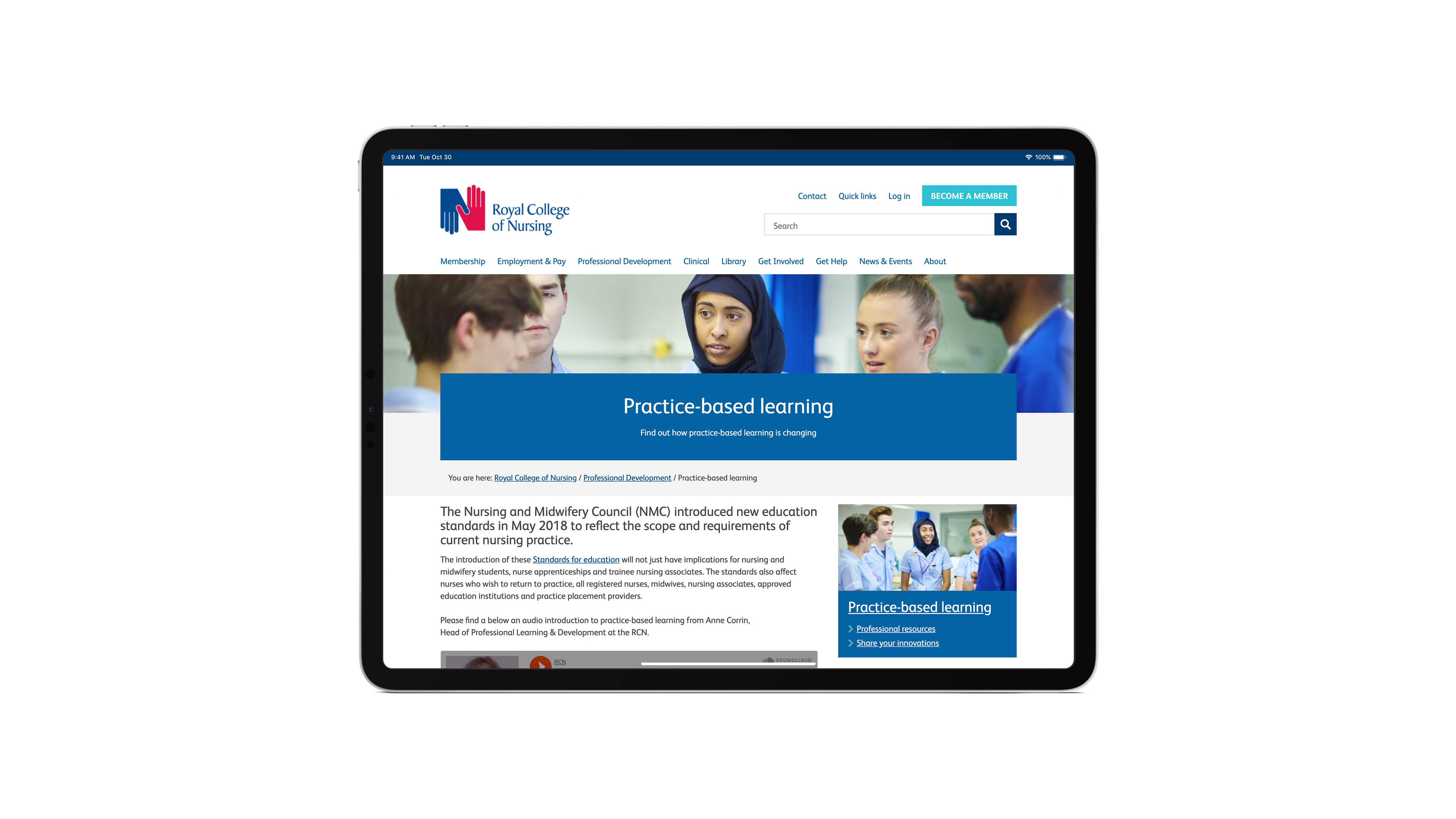 iPad screen view for Royal College of Nursing