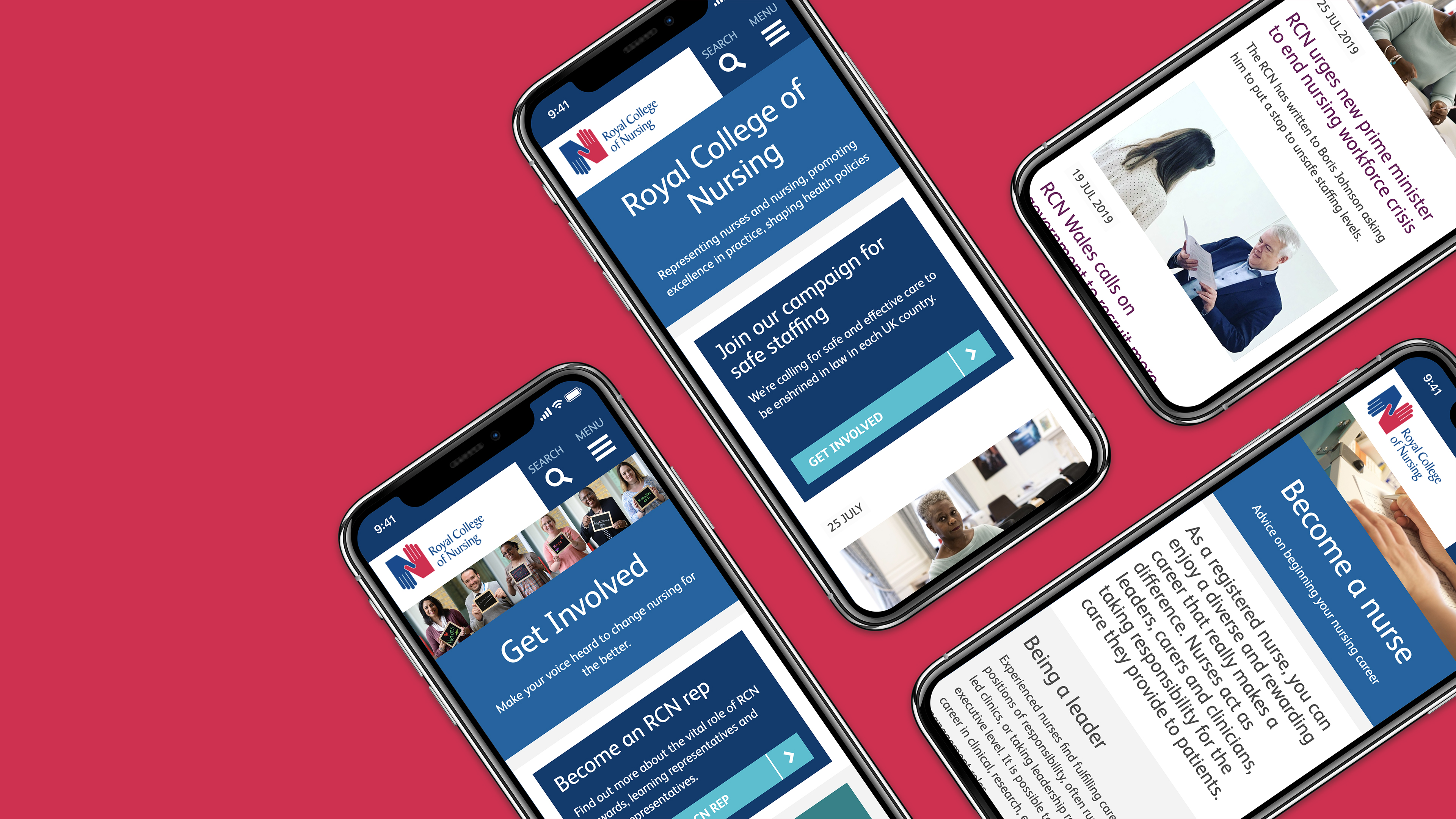 mobiles aligned on the surface with screen view for Royal College of Nursing