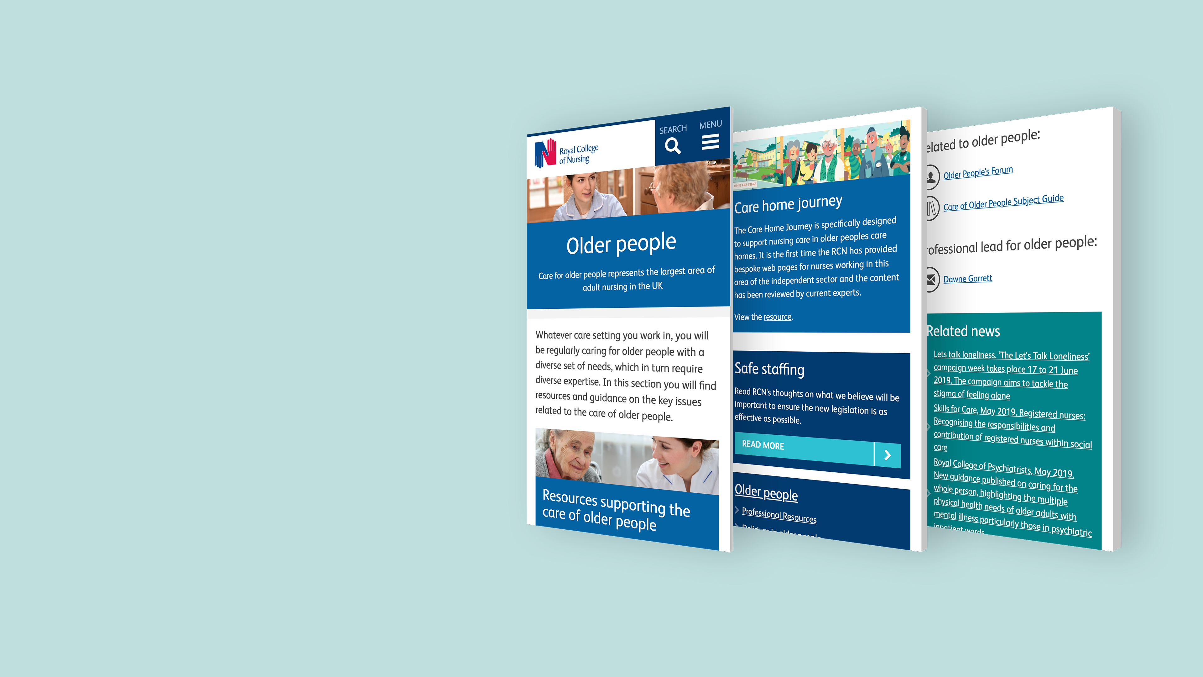 three website pages view for Royal College of Nursing