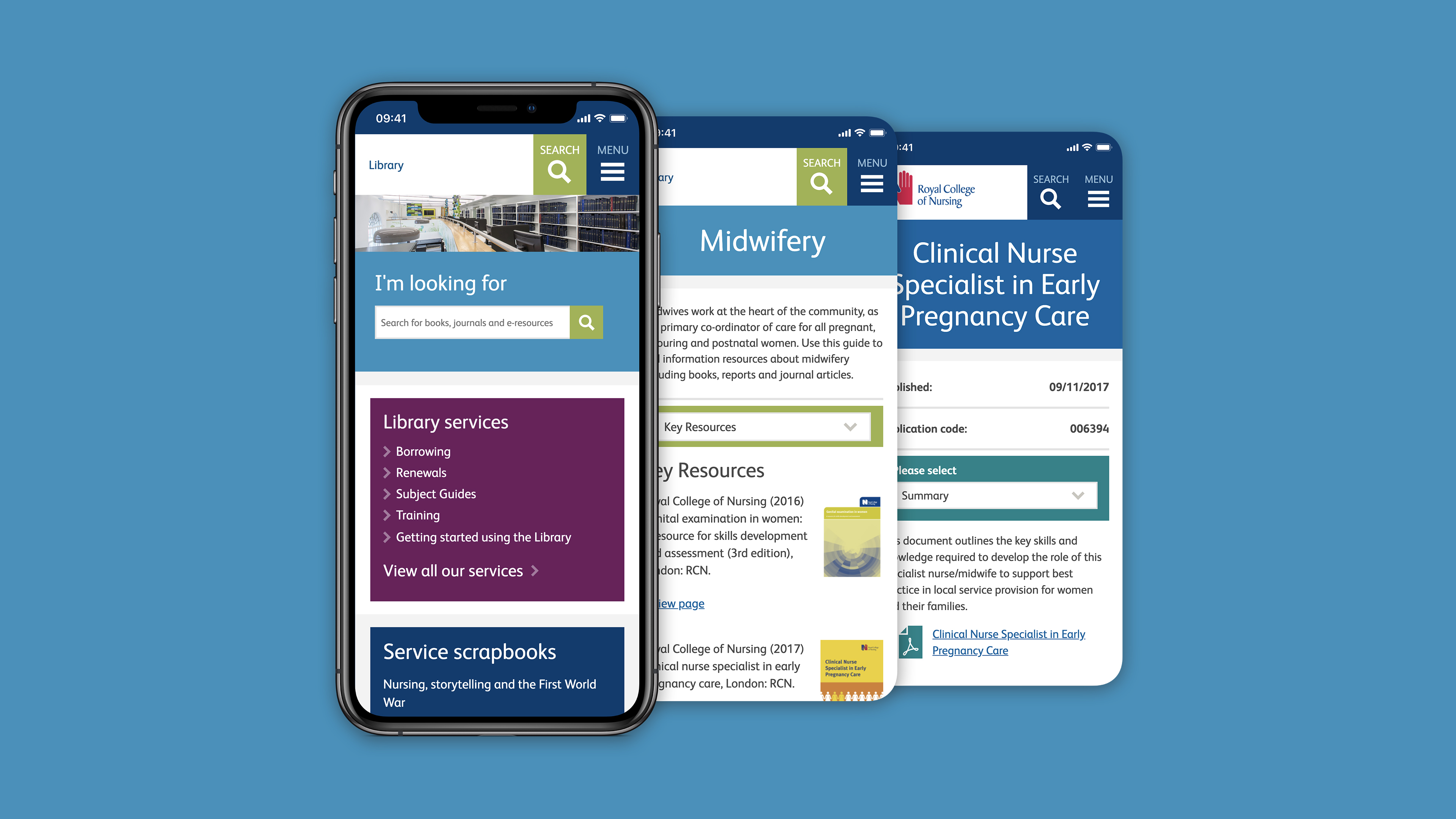 three mobile screens view for Royal College of Nursing