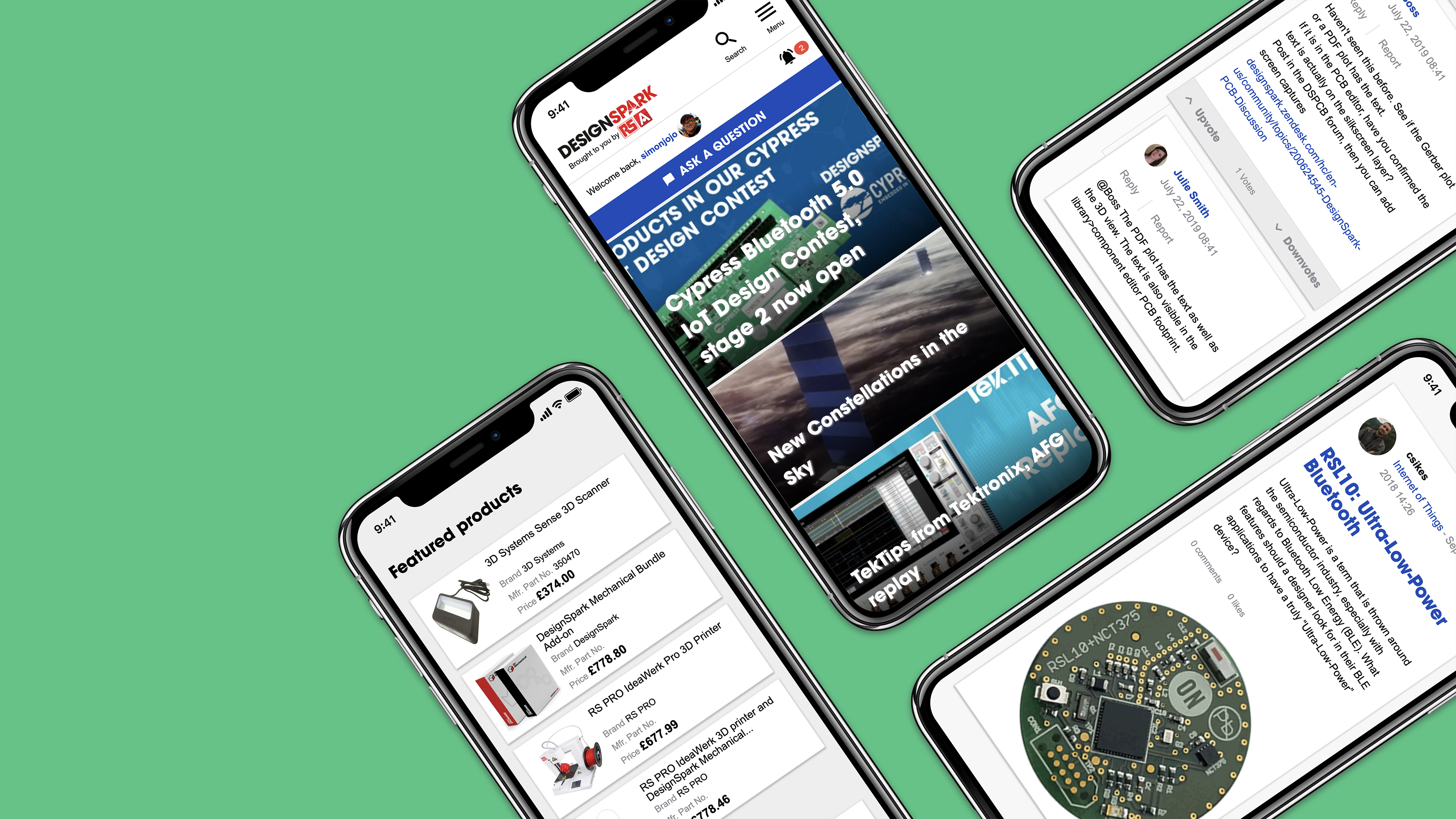 mobile phone with websites pages open RS Design Spark