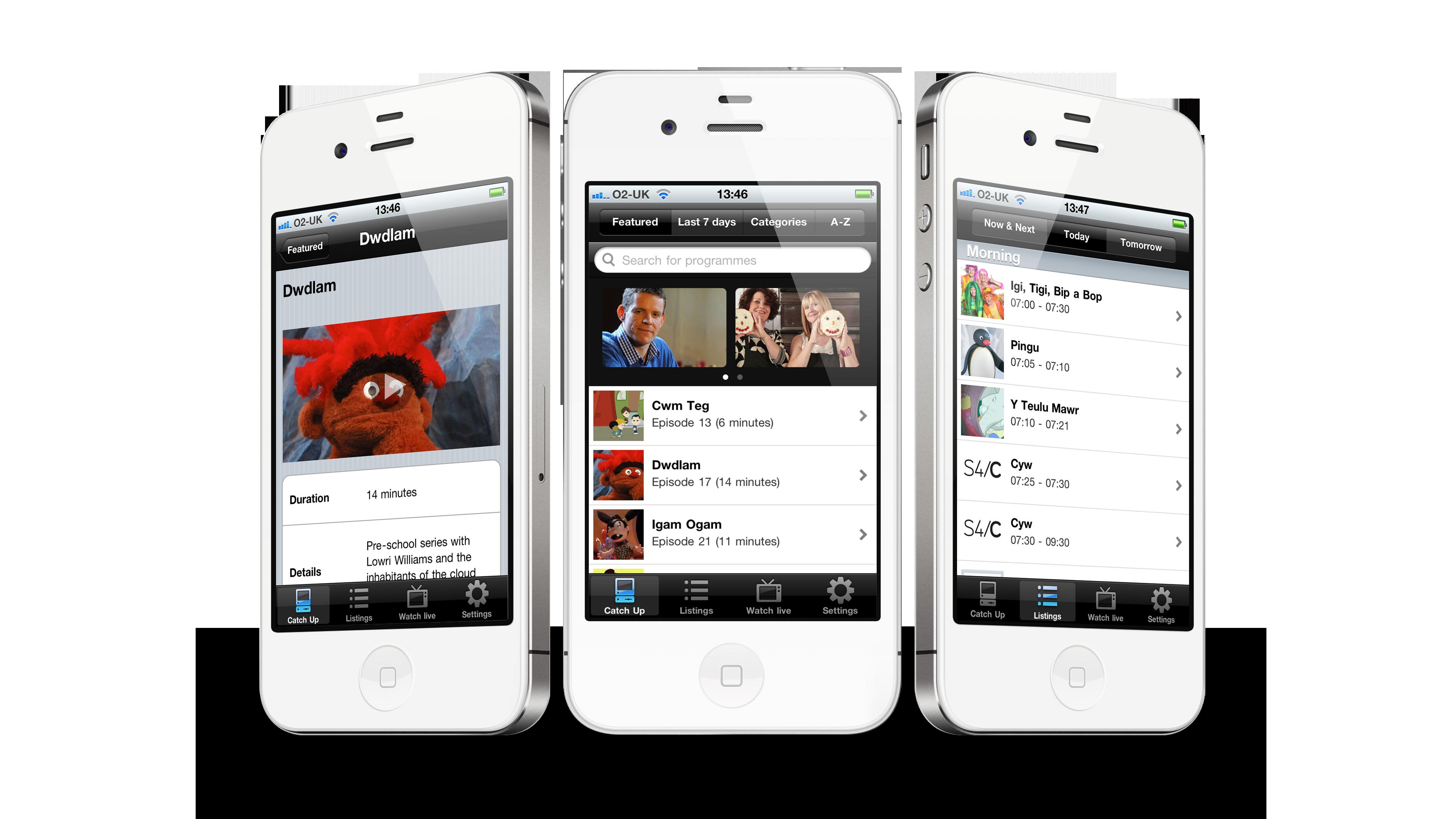 Screenshots of mobile view of S4C app