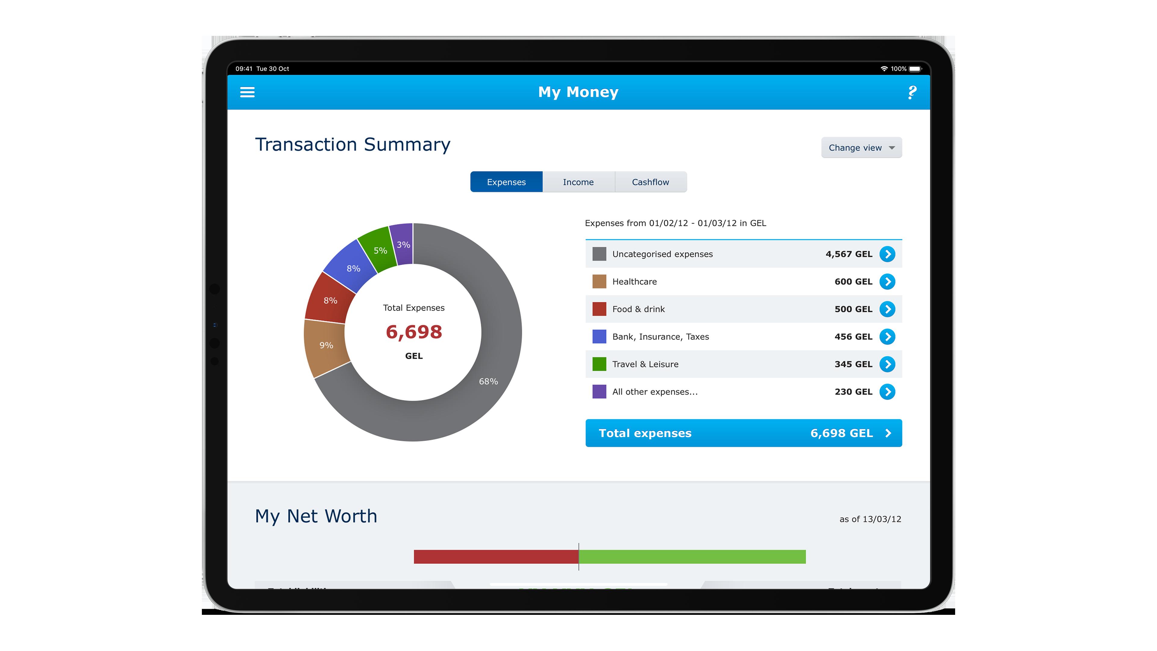 Ipad view of TBC transaction summary