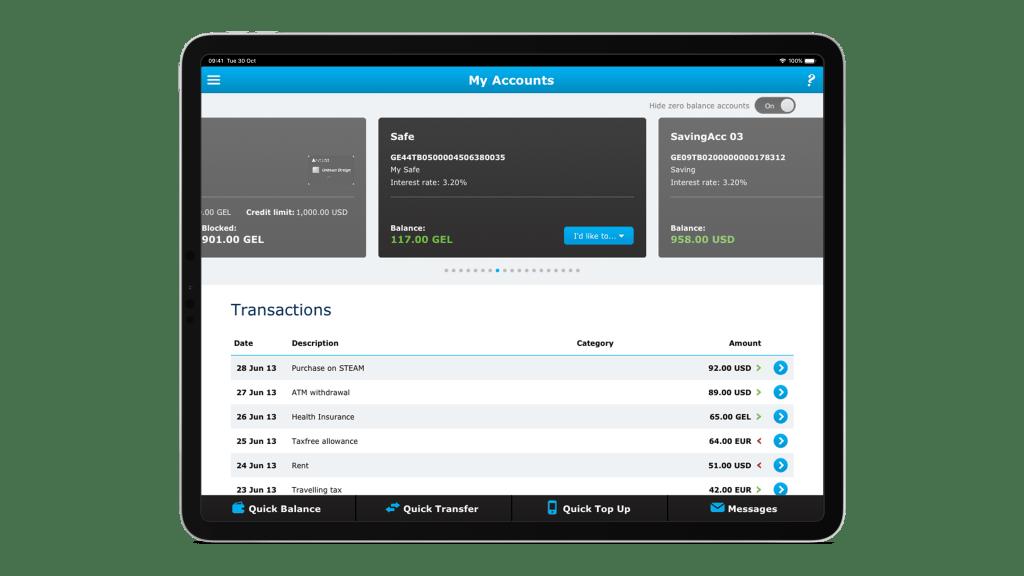 Ipad view of TBC transactions list