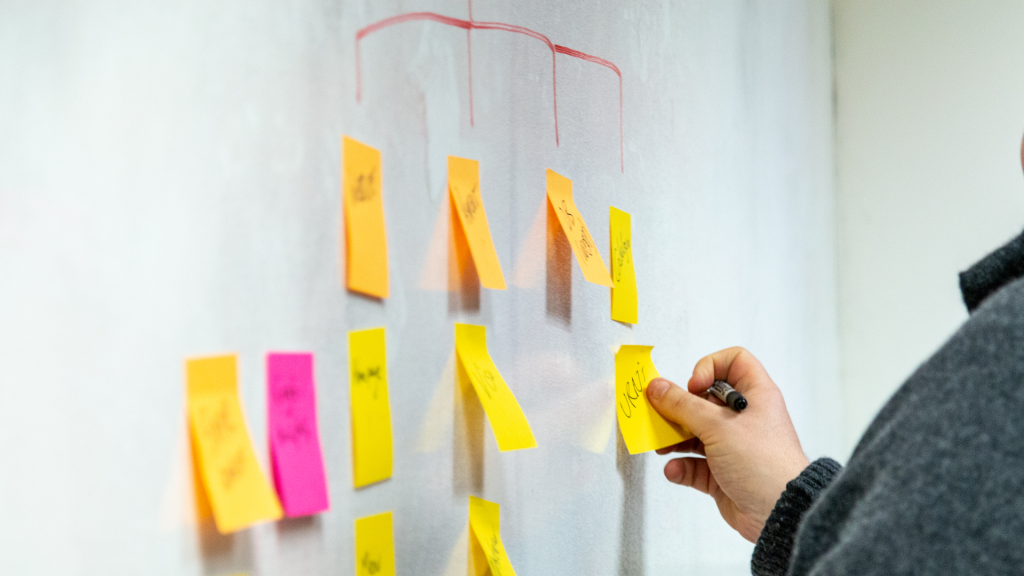Mapping out an information architecture in post-it notes