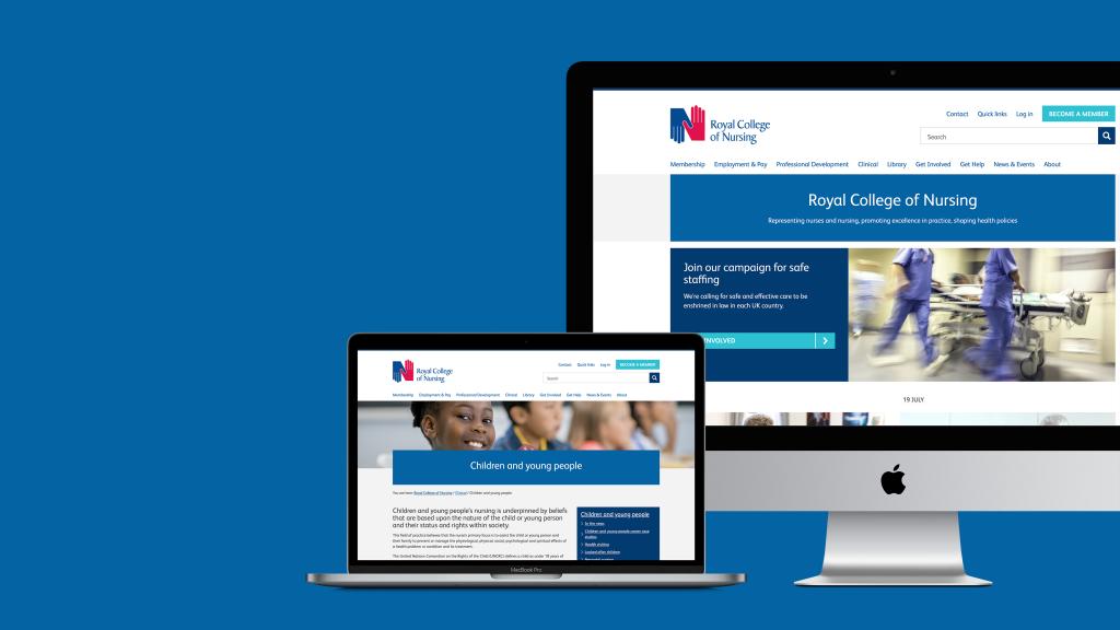 Screenshots of the RCN website on desktop and laptop screens