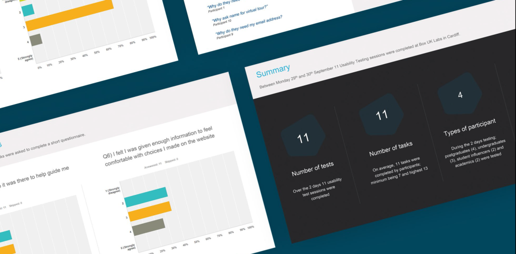 Example slides from a usability testing report