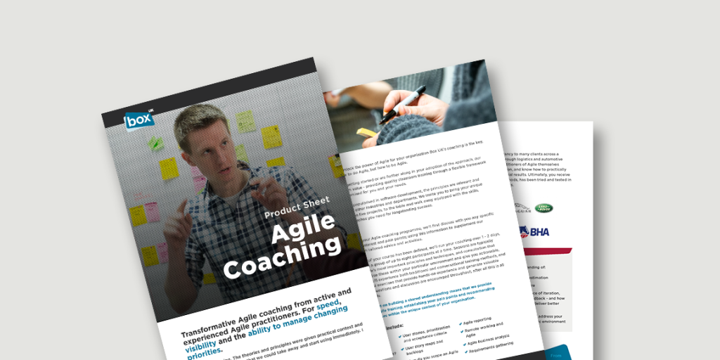 Spead showing pages from Agile Coaching product sheet