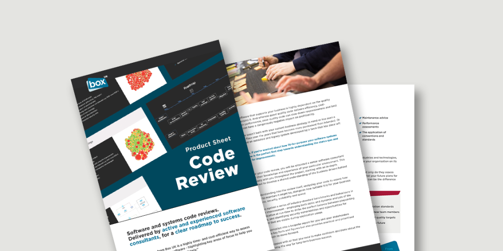 Spead showing pages from Code Review product sheet