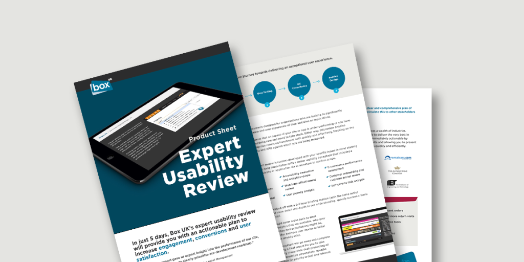 Spread showing pages from Expert Usability Review product sheet
