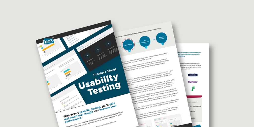 Spead showing pages from Usability Testing product sheet