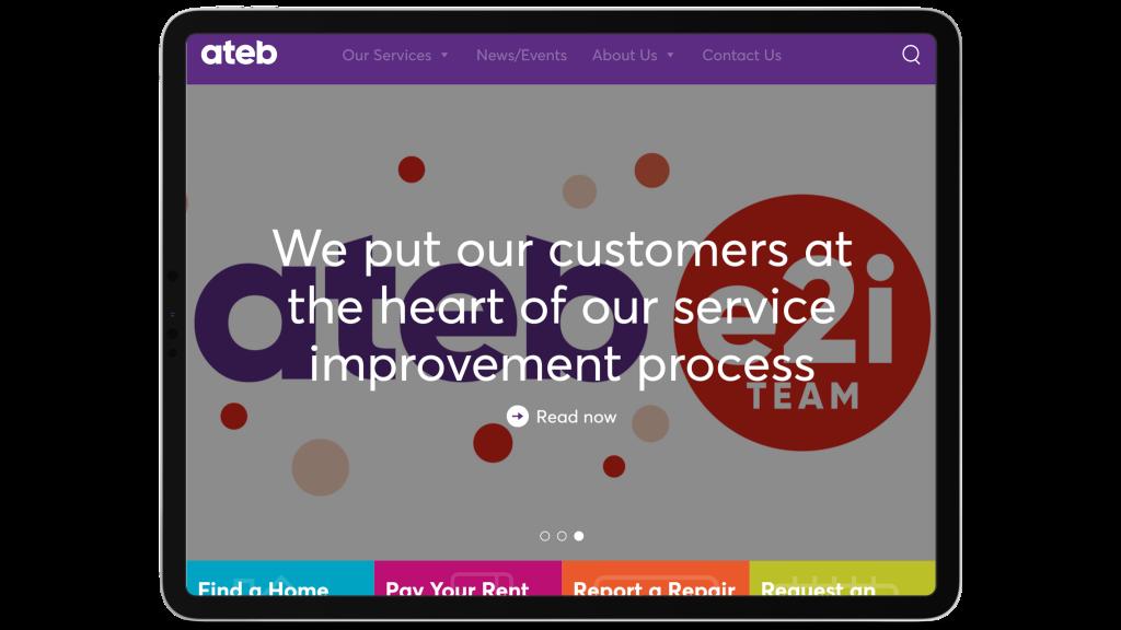 ateb home page screenshot
