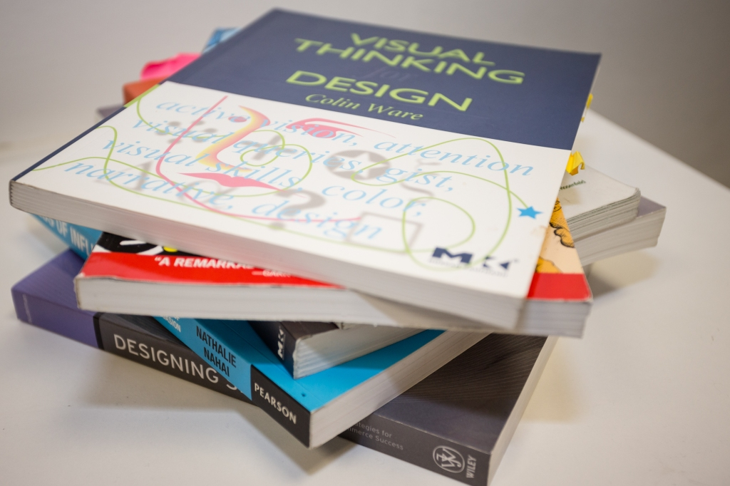 Stack of books with a design book on top