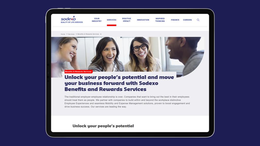 Screenshot of Sodexo Employee Benefits site