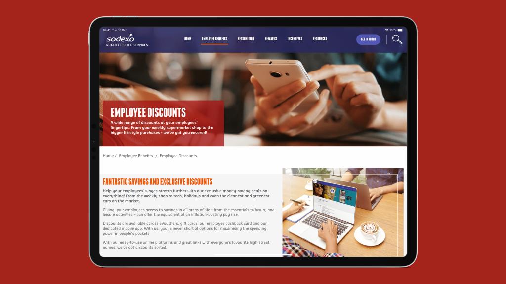 Screenshot of Sodexo Employee Discounts site