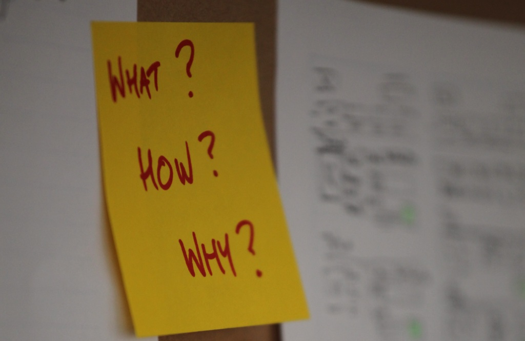 Post-it note on wall with 'What?', 'How?' and 'Why' written on it