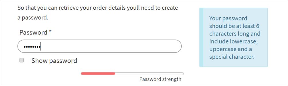 Screenshot showing password strength checker