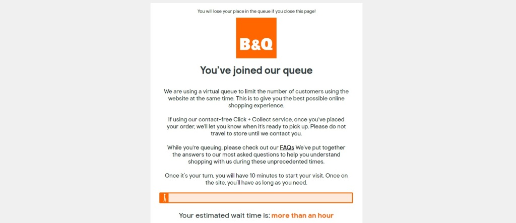 Screenshot from the B&Q website showing its queuing system