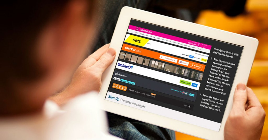 Person looking at iPad displaying example Peers, Innovators, Competitors review