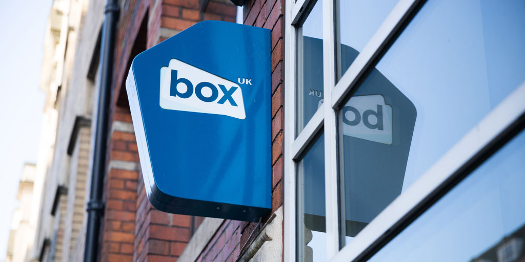 Box UK office exterior with sign outside door