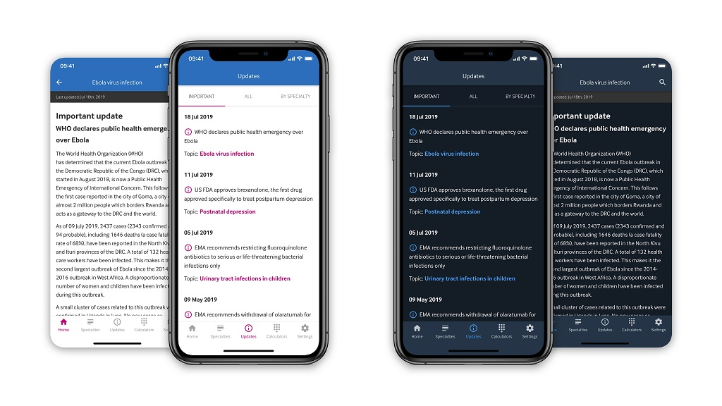 Screenshots of BMJ Best Practice app on mobile phones