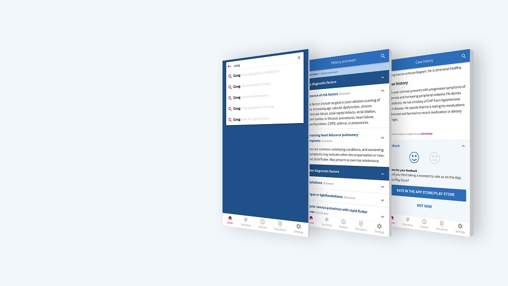 three screens view for BMJ Best Practice App