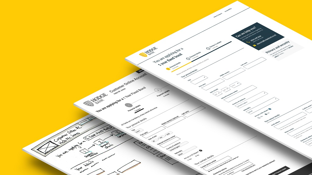 Examples of development of designs from sketches to wireframes