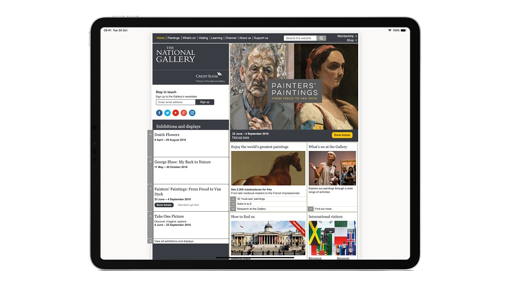 Screenshot of The National Gallery website