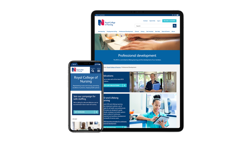 iPad and mobile screen view for Royal College of Nursing