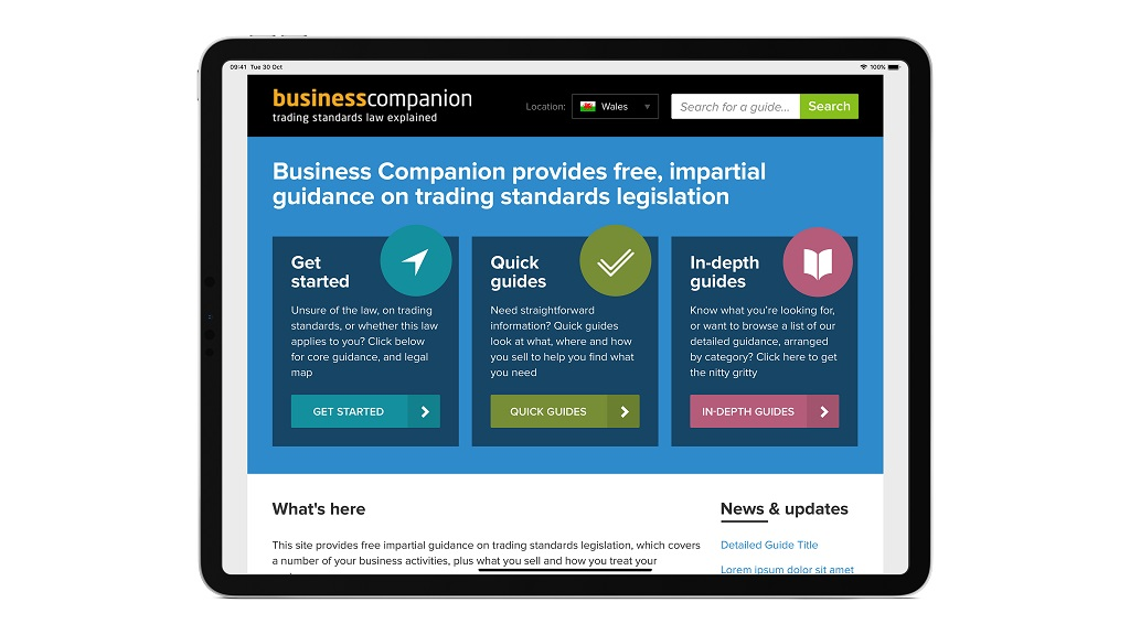 view of business companion site