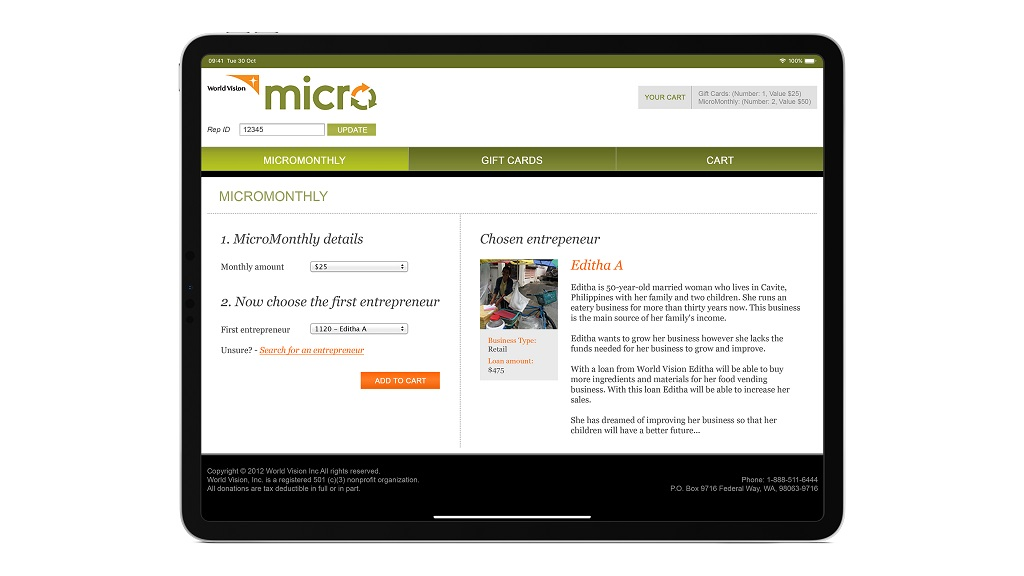 screen view of Micro World Vision