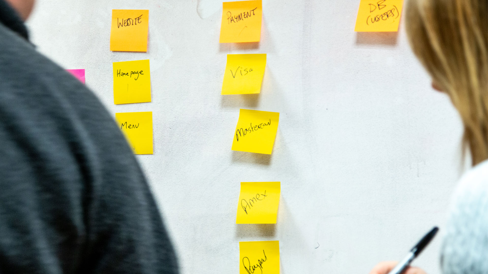 Two people adding post-it notes to a wall showing different payment options