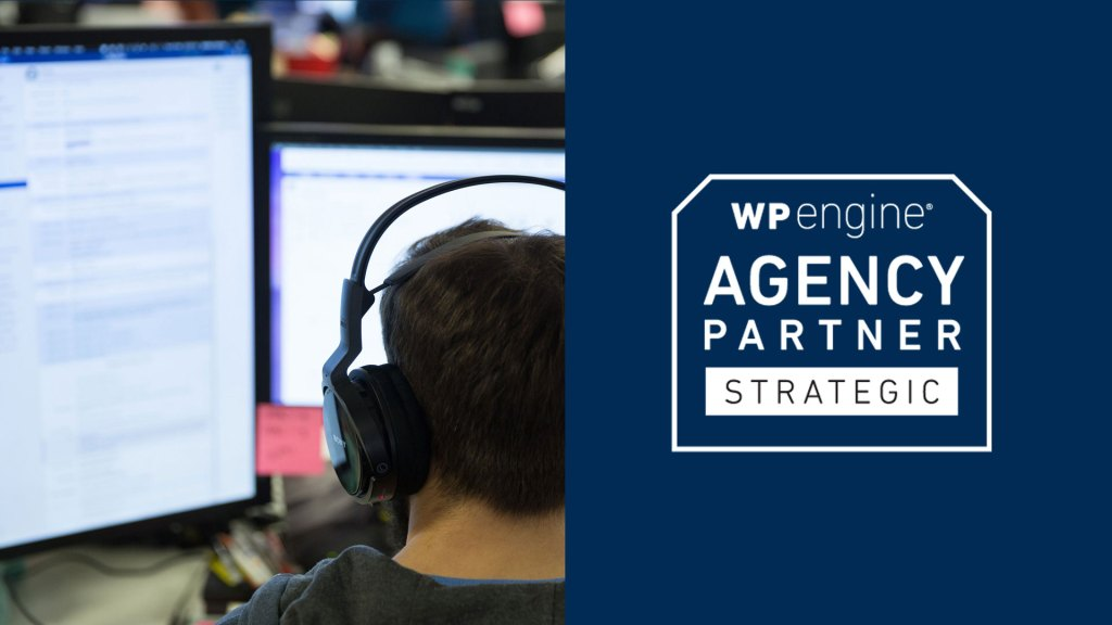 WP Engine Strategy Agency Partner logo, with a photo of a developer