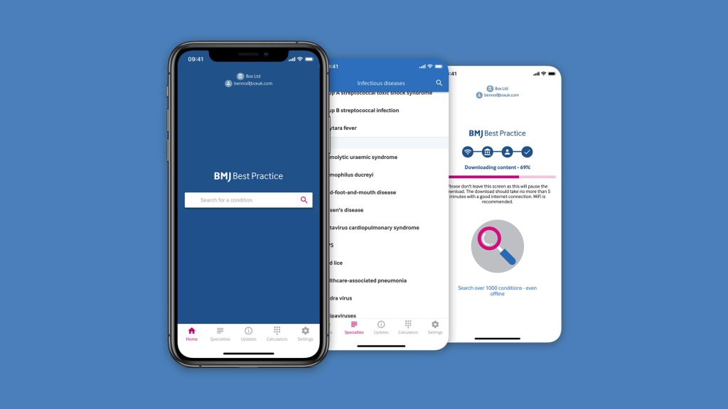 3x mobile screenshots showing the BMJ Best Practice app